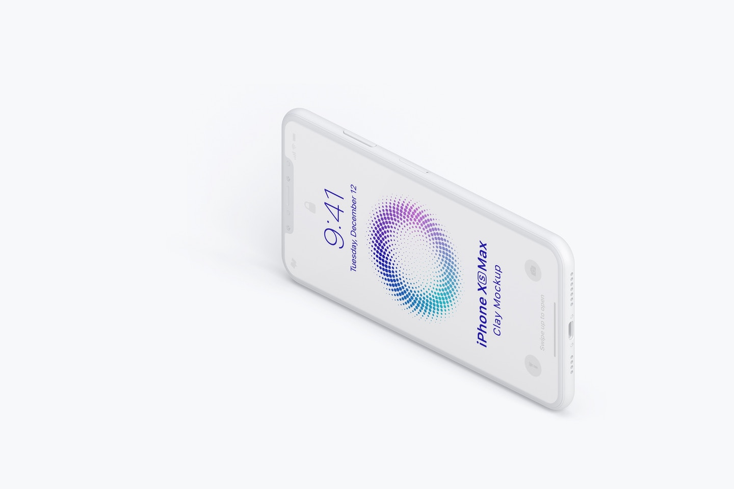 Isometric Clay iPhone XS Max Mockup, Right View 03