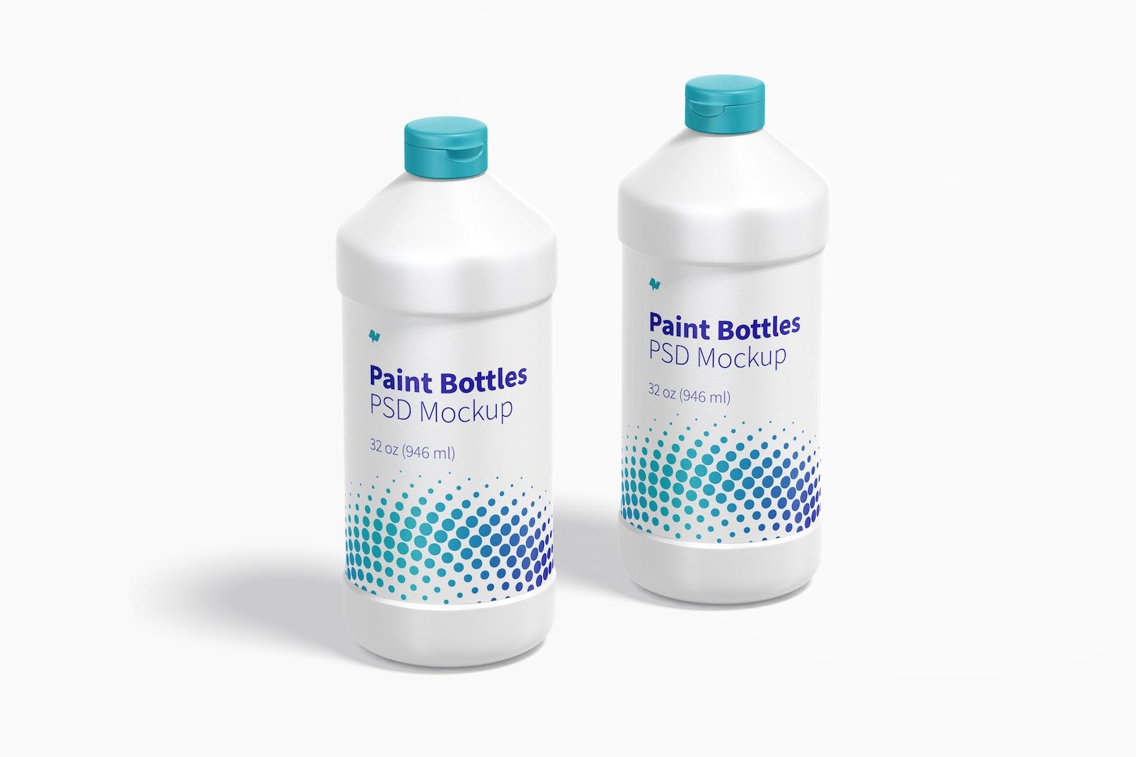 32 oz Paint Bottles Mockup