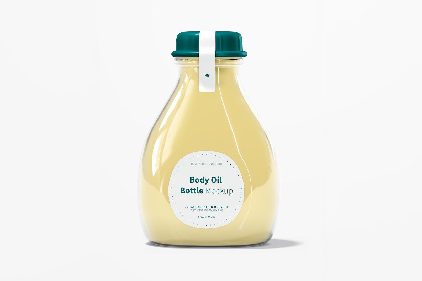 Body Oil Bottle Mockup, Front View