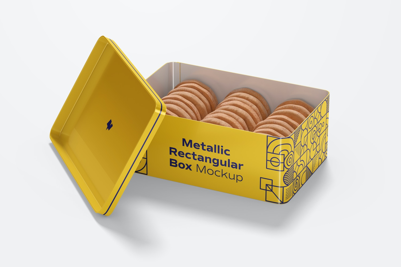 Metallic Rectangular Box Mockup, Opened