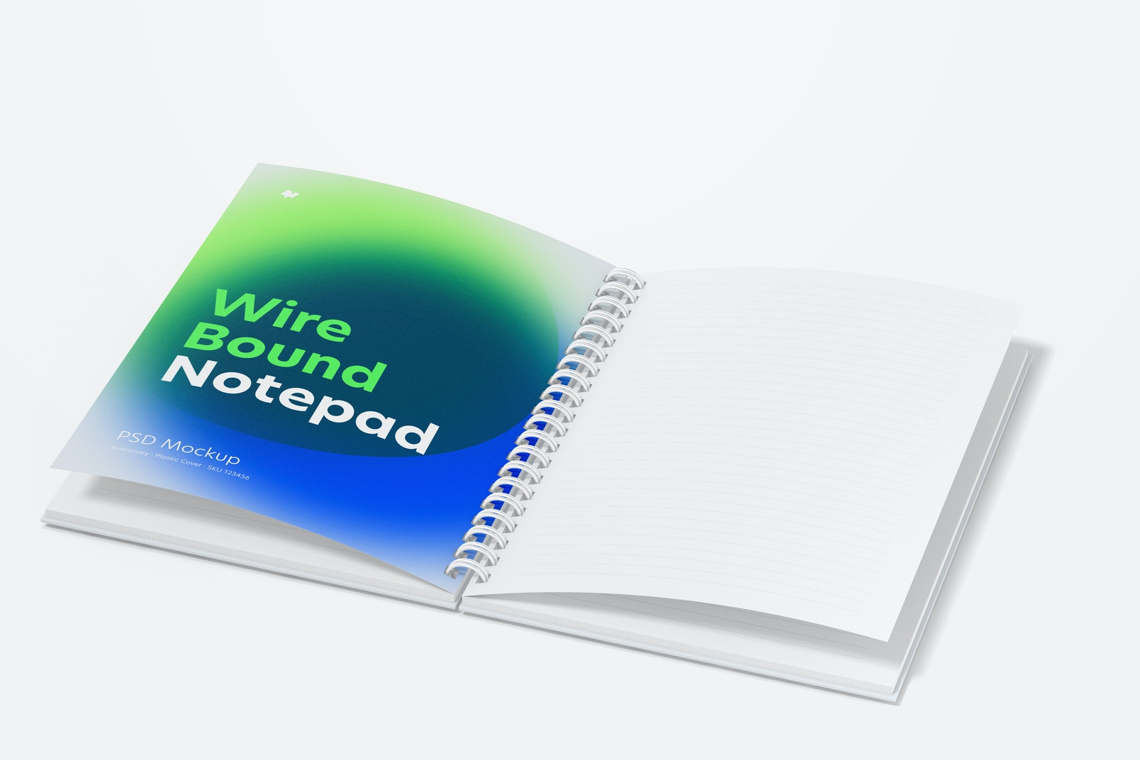 Plastic Cover Wire Bound Notepad Mockup, Opened