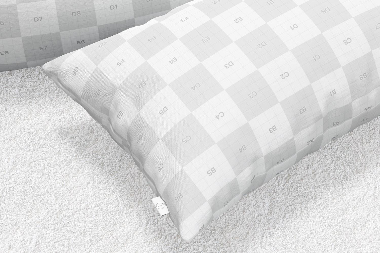 Rectangular Pillows Mockup, Close-Up