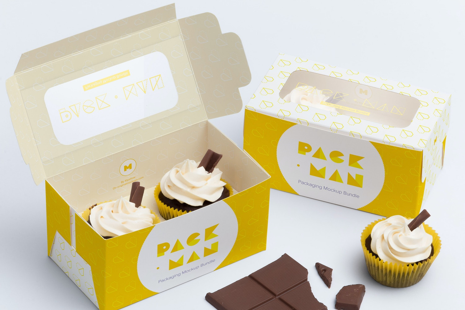 Two Cupcake Box Mockup 01 by Ktyellow  on Original Mockups