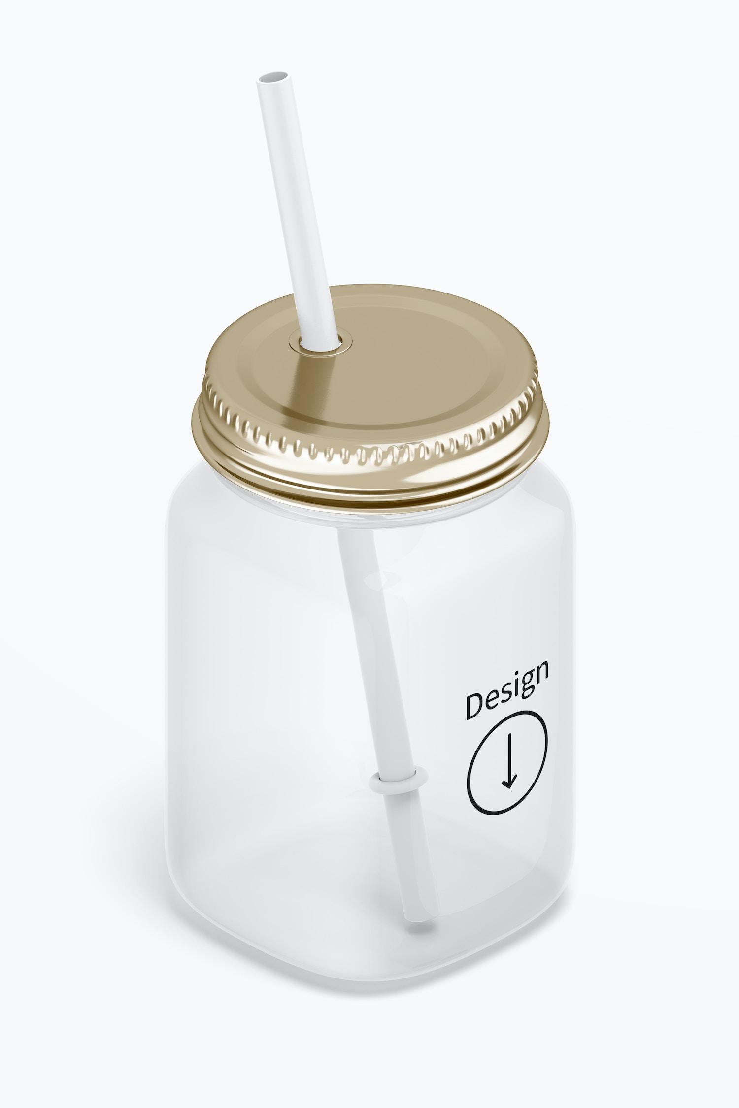 16 oz Mason Jar with Straw Mockup, Isometric Left View
