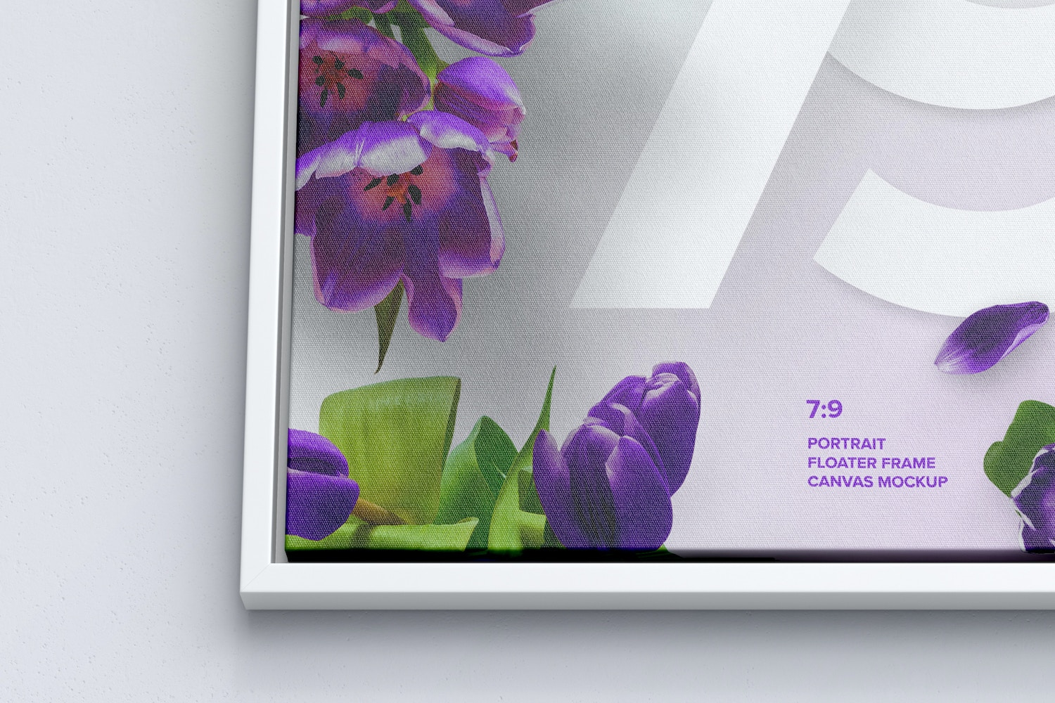7:9 Portrait Canvas Mockup in Floater Frame, Bottom Front View