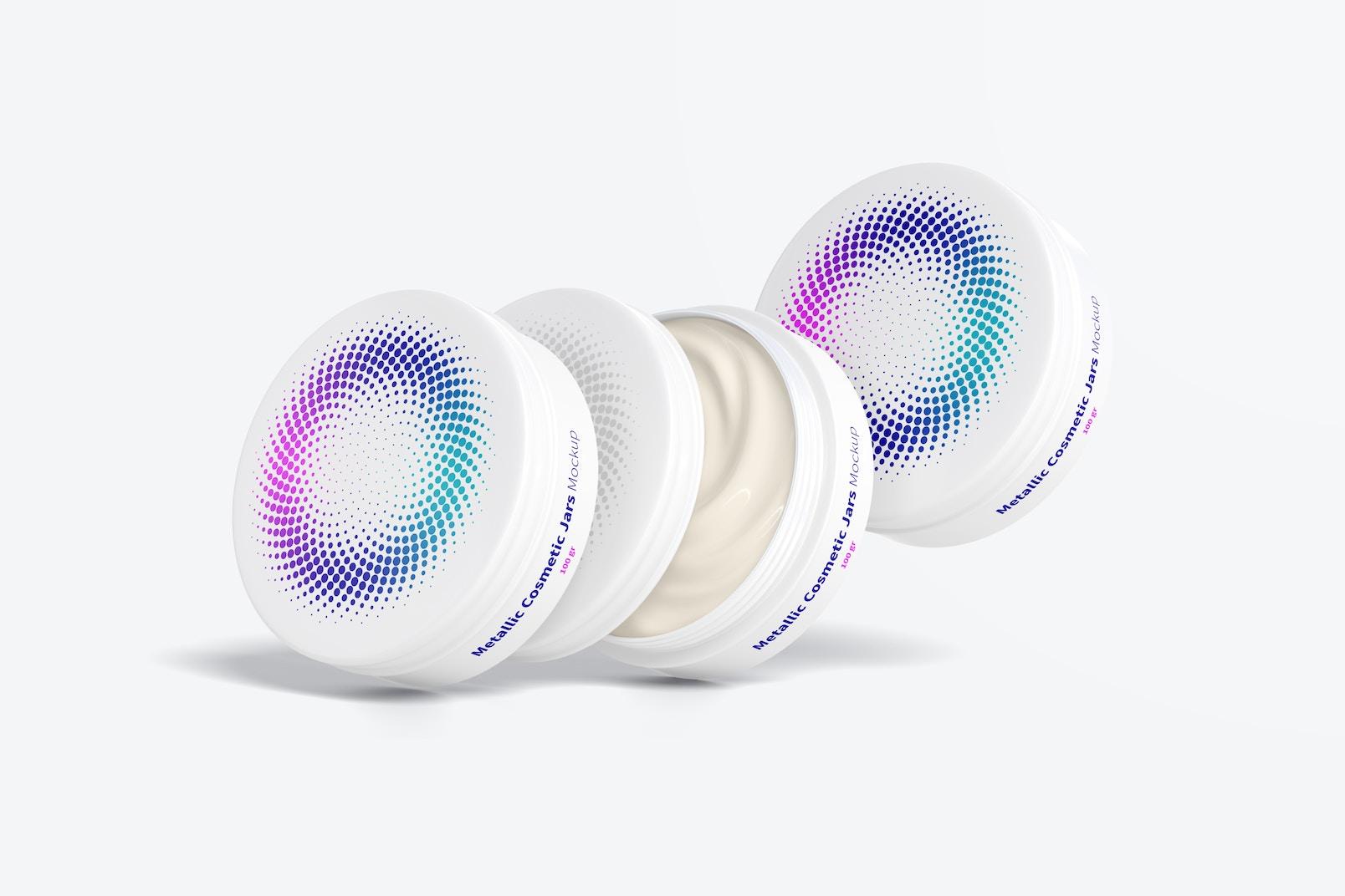100 gr Metallic Cosmetic Jar Set Mockup