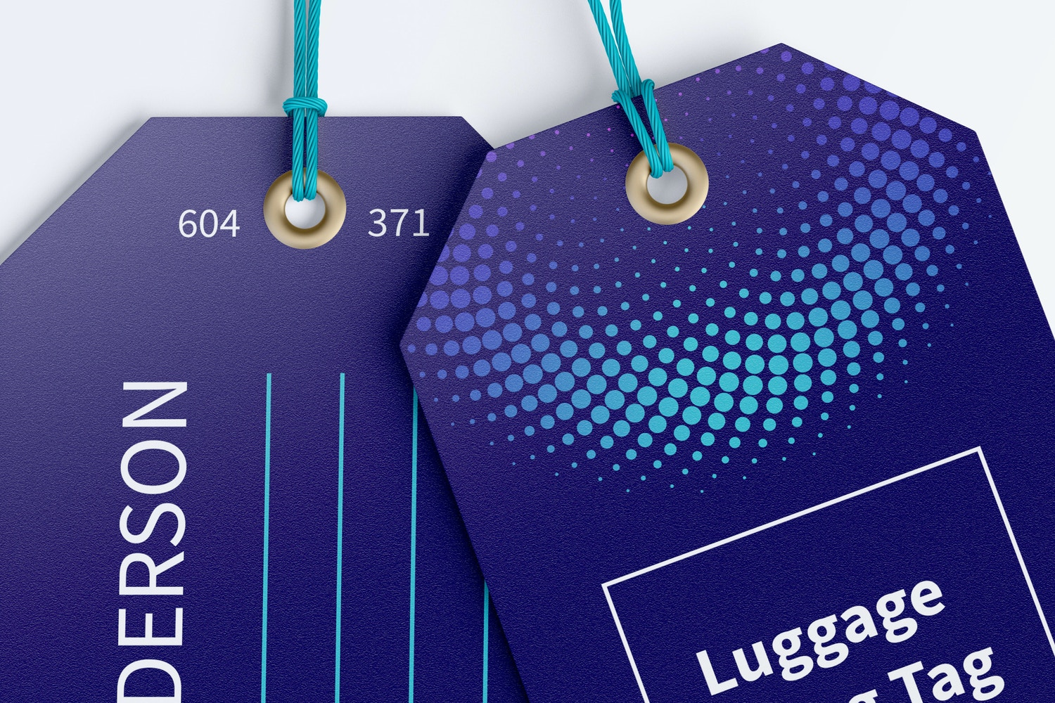 Luggage Hang Tags Mockup with String, Two-sided