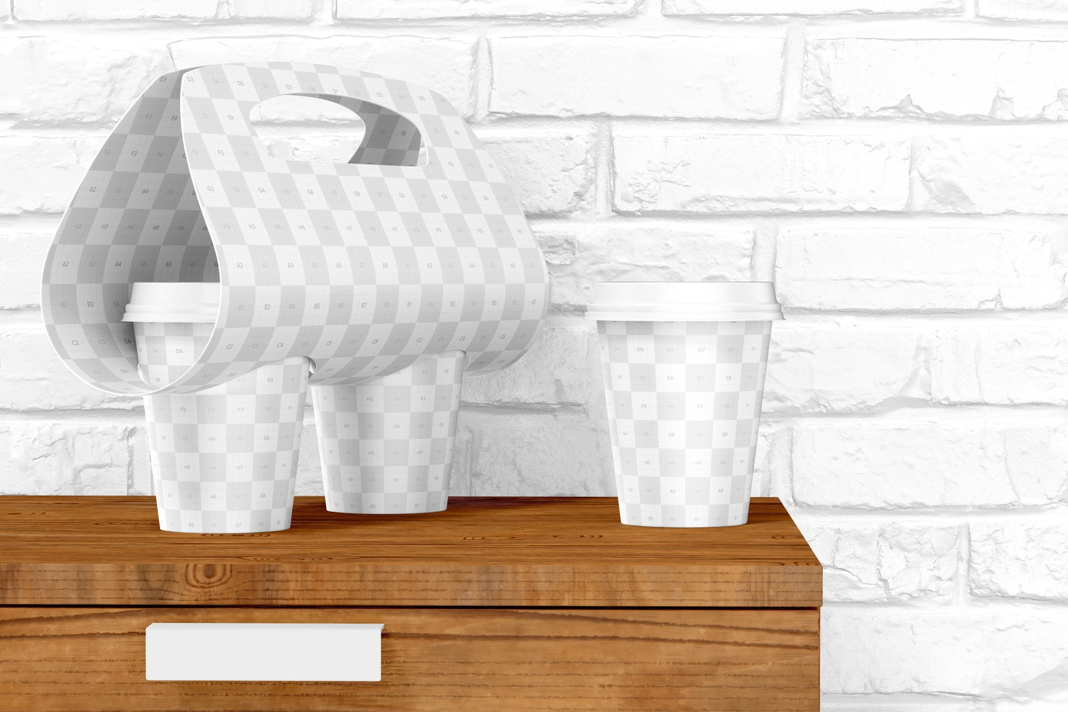 Coffee Cups with Holder Mockup