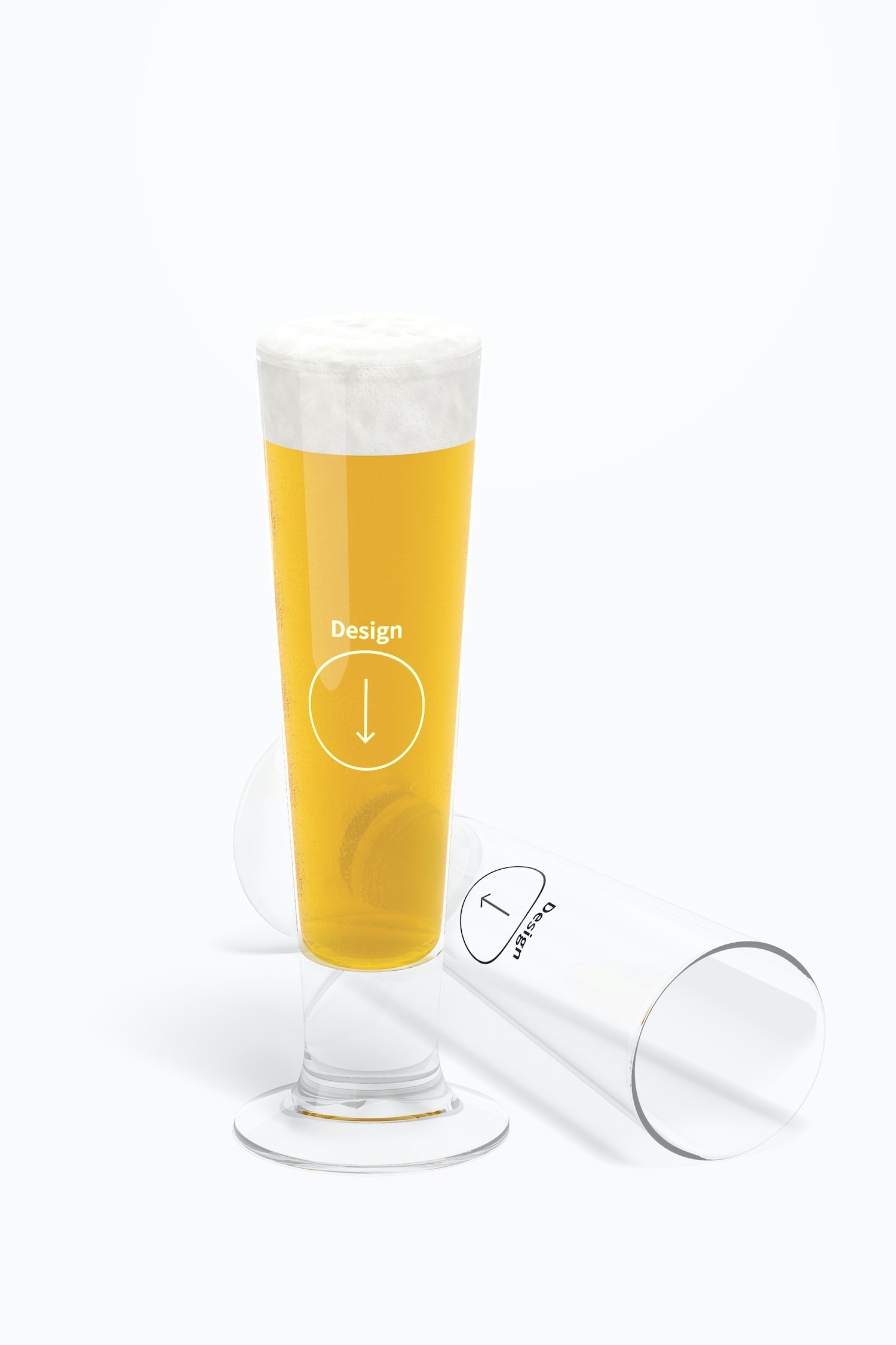 14 oz Glass Beer Cups Mockup, Dropped