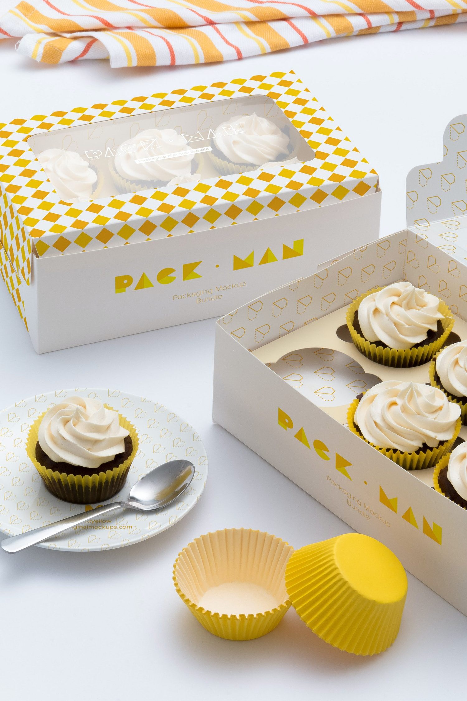 Six Cupcake Box Mockup 05 by Ktyellow  on Original Mockups