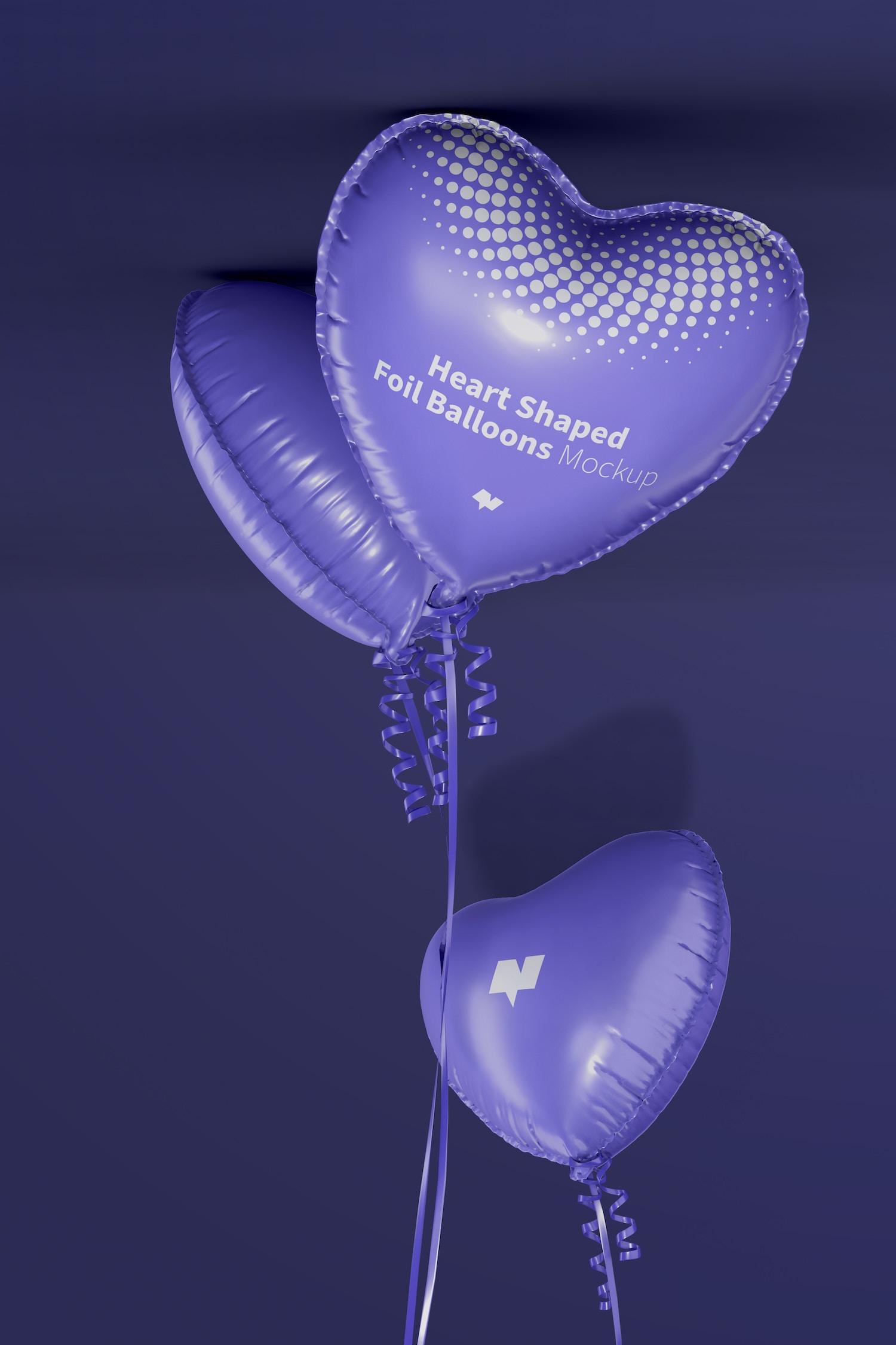 Heart Shaped Foil Balloons Mockup, Floating