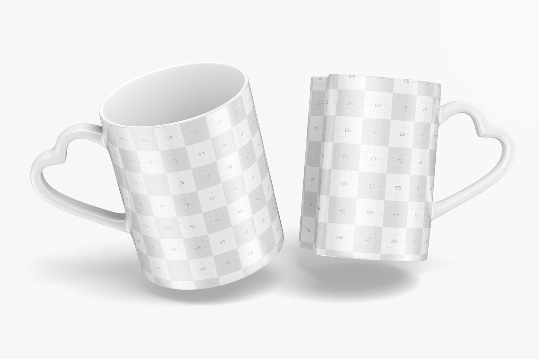 Matching Mugs Mockup, Floating