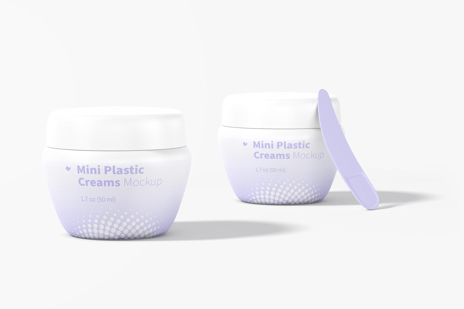 Mini Plastic Cream Jars with Lid Mockup
