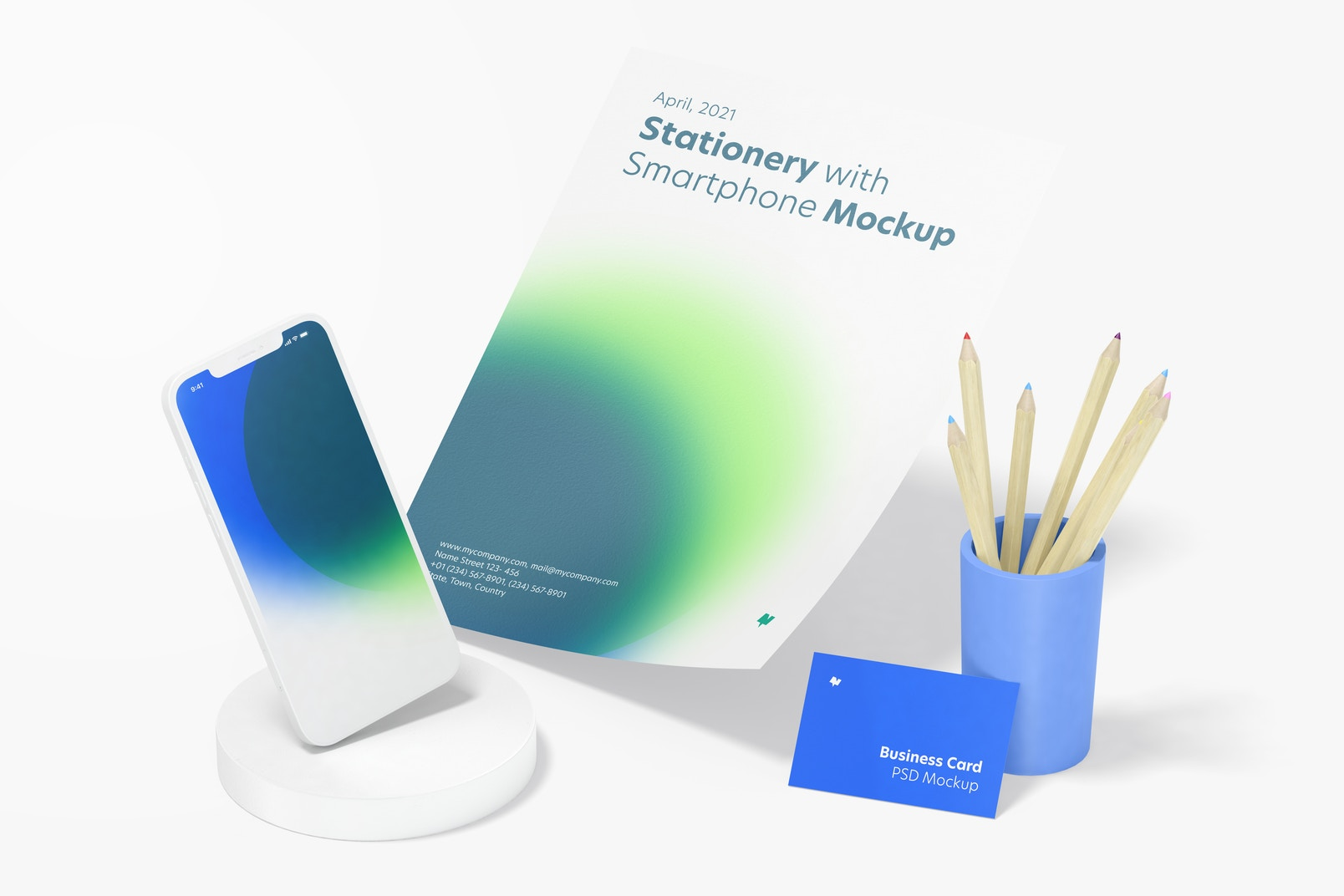 Stationery with Smartphone Mockup, Perspective