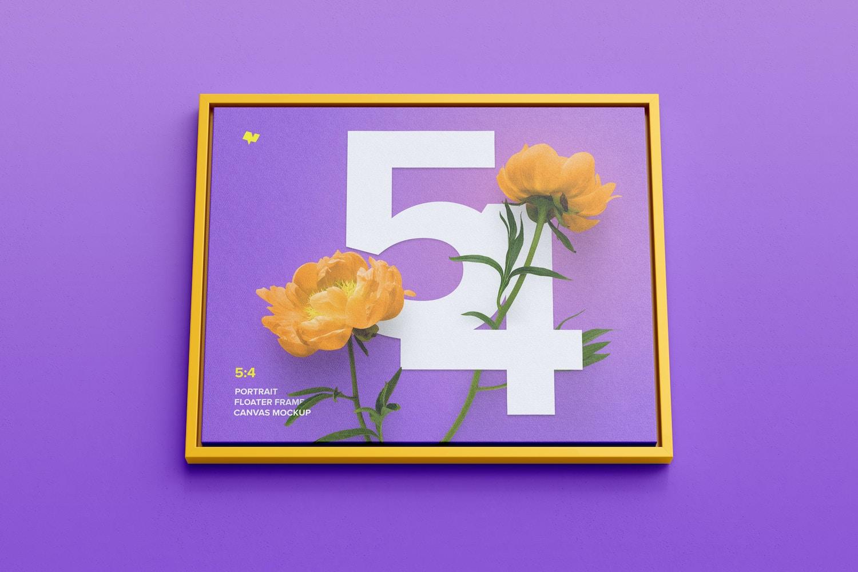 5:4 Landscape Canvas Mockup in Floater Frame, Bottom Front View
