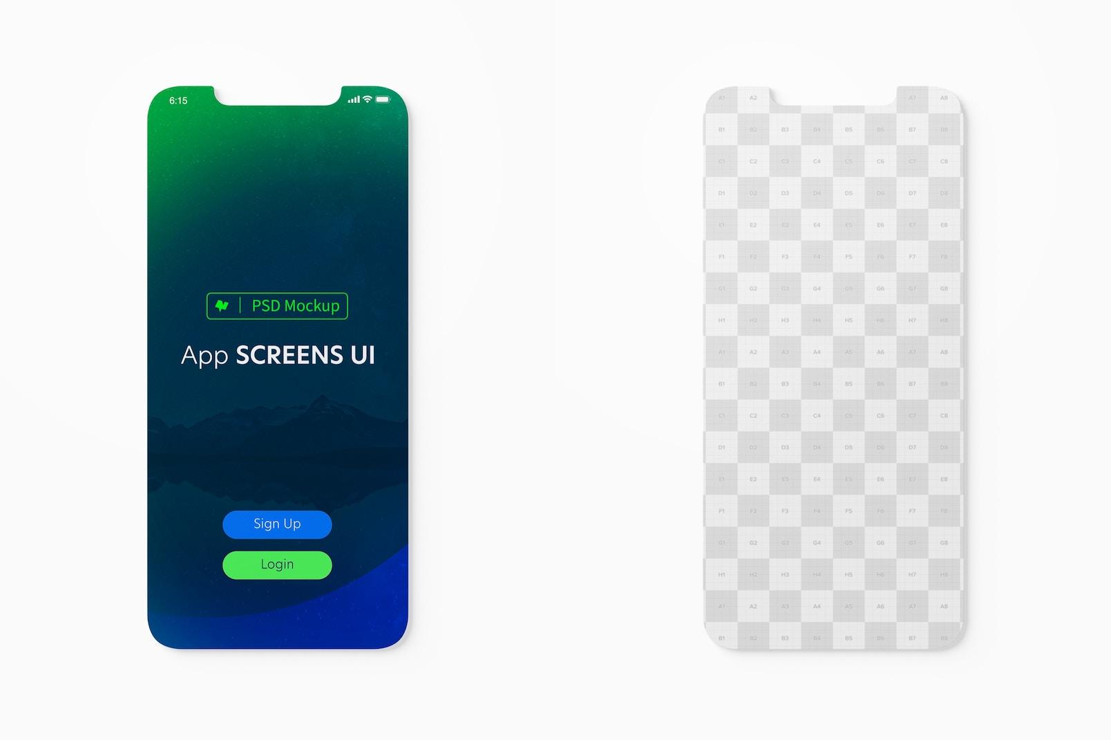 App Screens UI Mockup, Top View