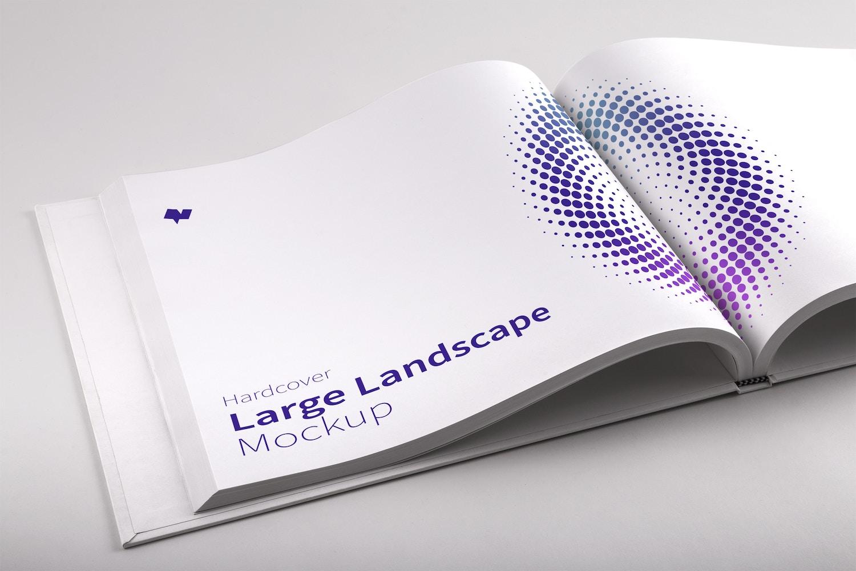 Hardcover Large Landscape Book PSD Mockup 01