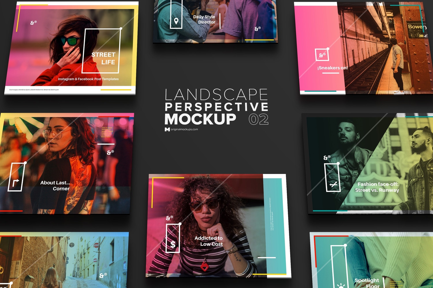 Landscape Perspective Grid Mockup for Instagram Post