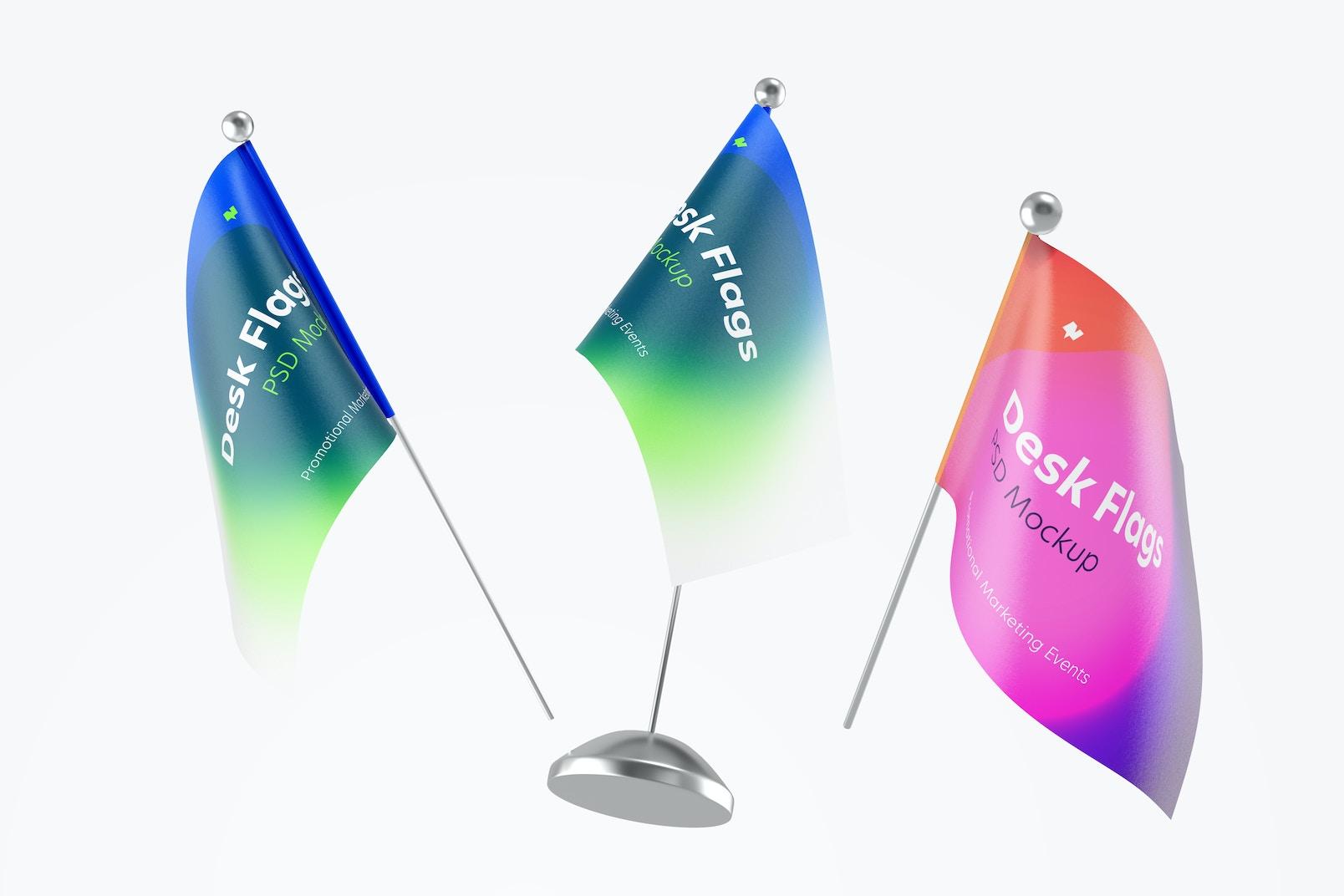 Desk Flags Mockup, Floating