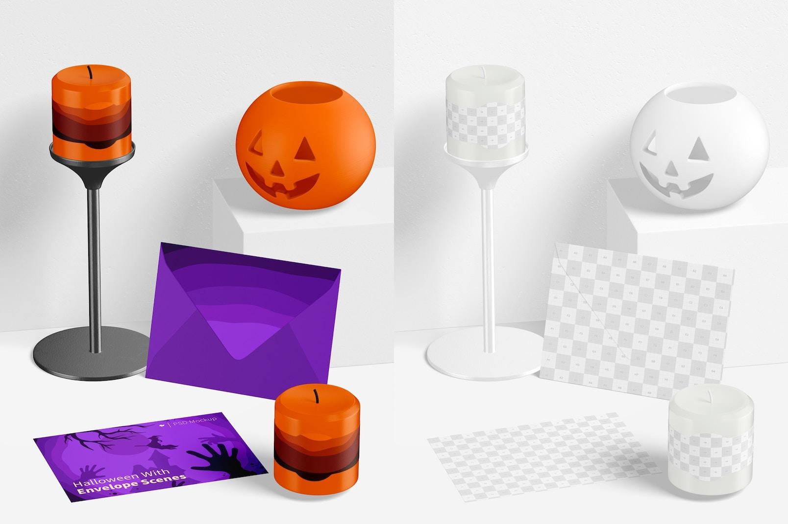 Halloween with Envelope Scene Mockup, Perspective