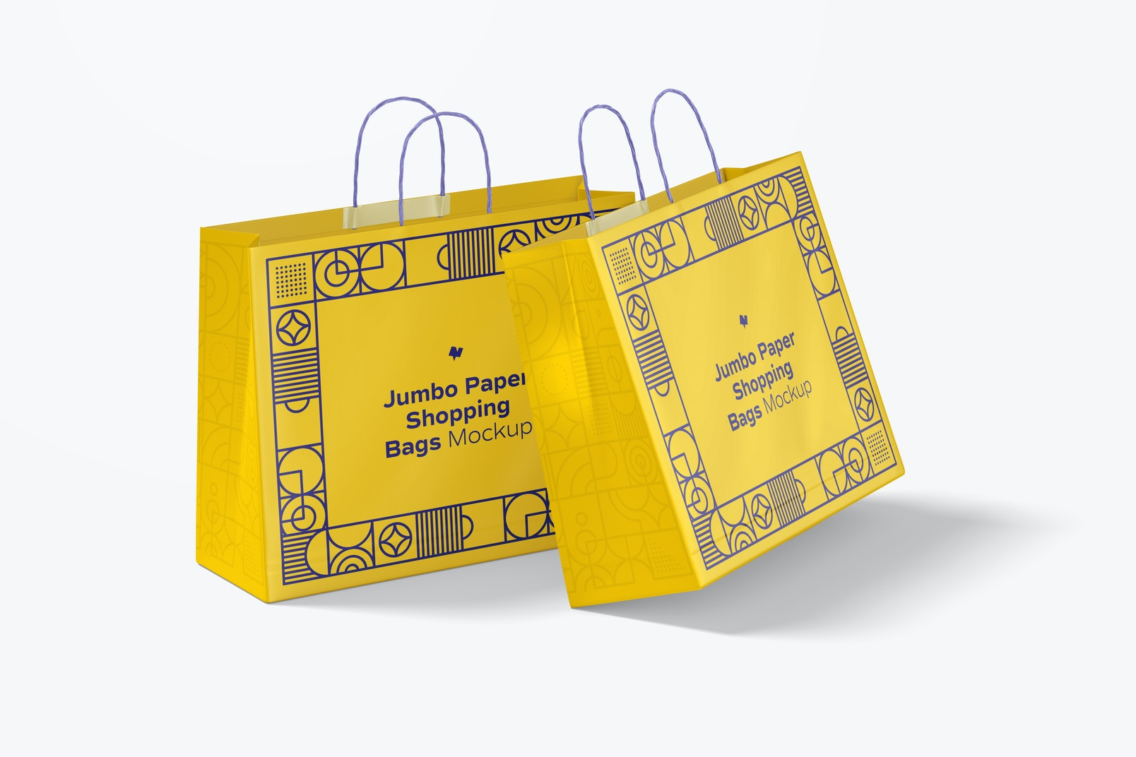 Jumbo Paper Shopping Bags Mockup, Perspective