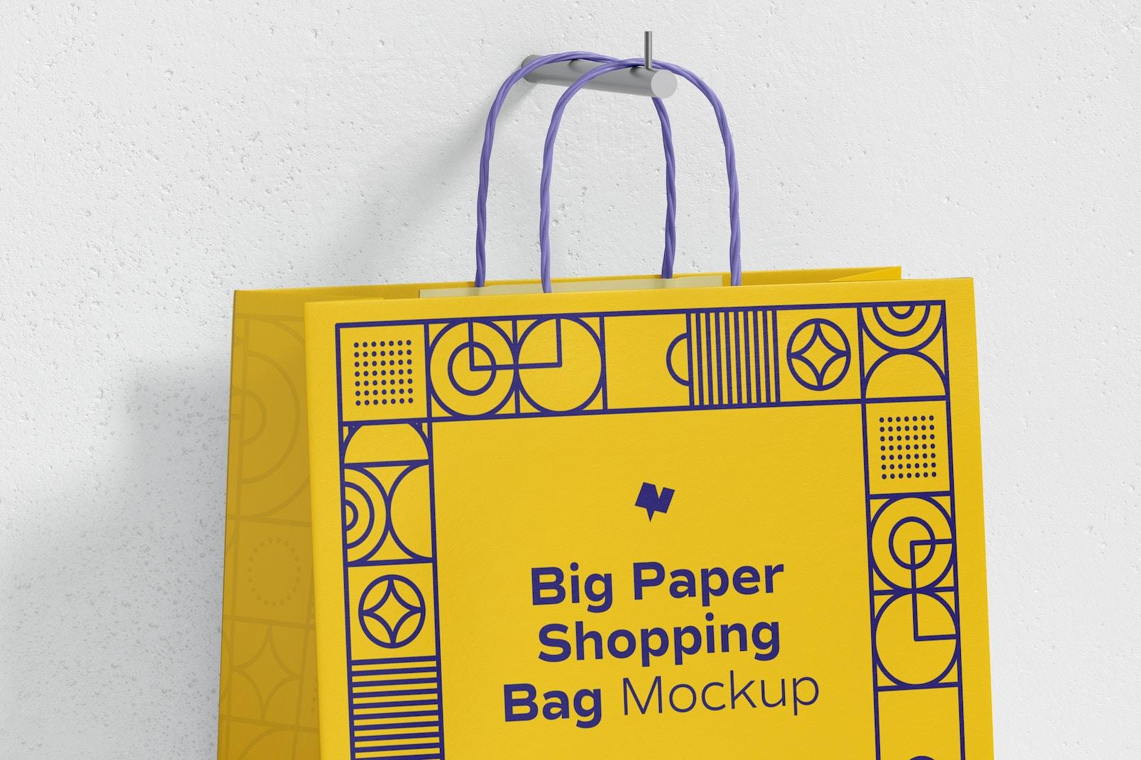 Big Paper Shopping Bags Mockup, Top View