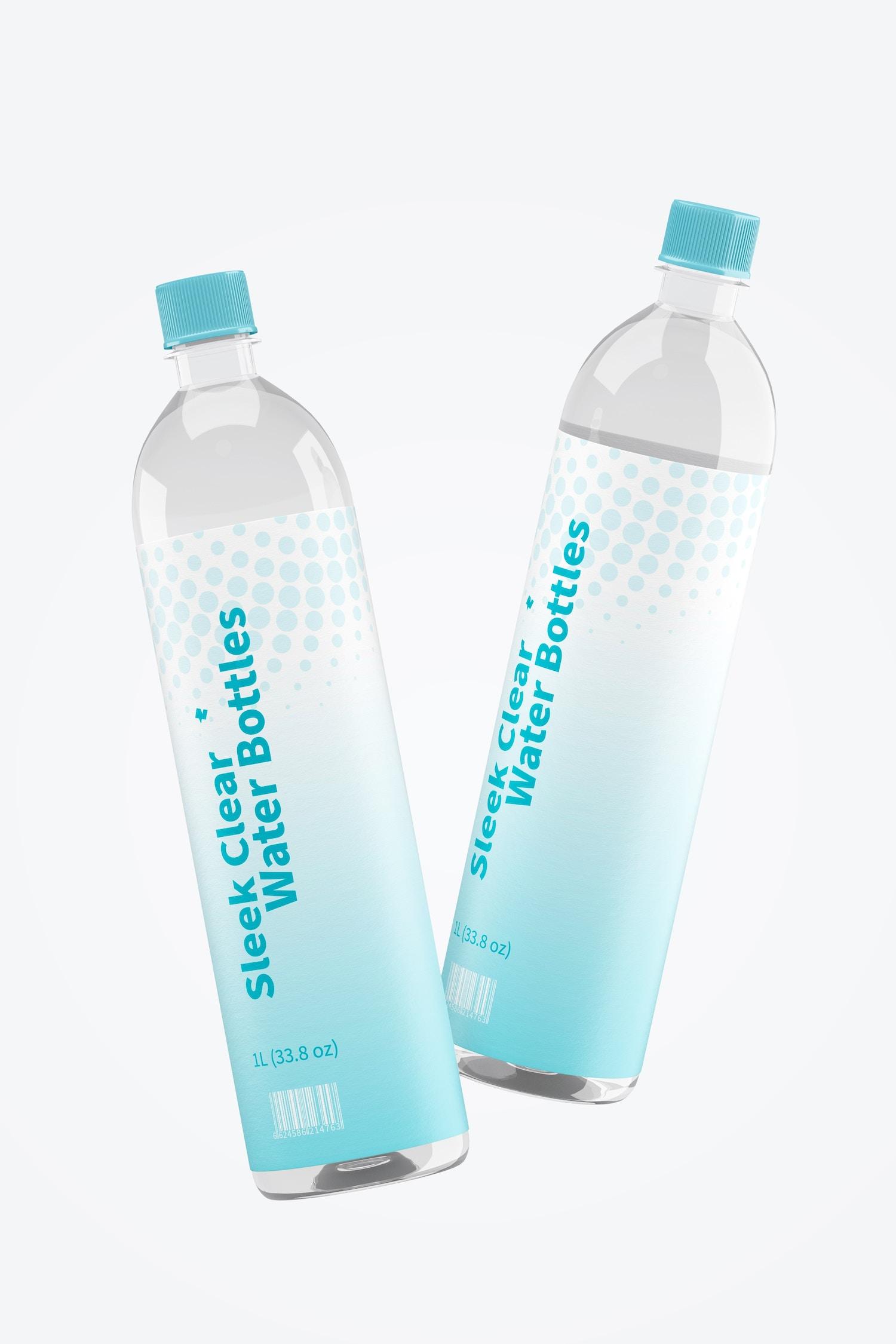 1L Sleek Clear Water Bottles Mockup, Falling
