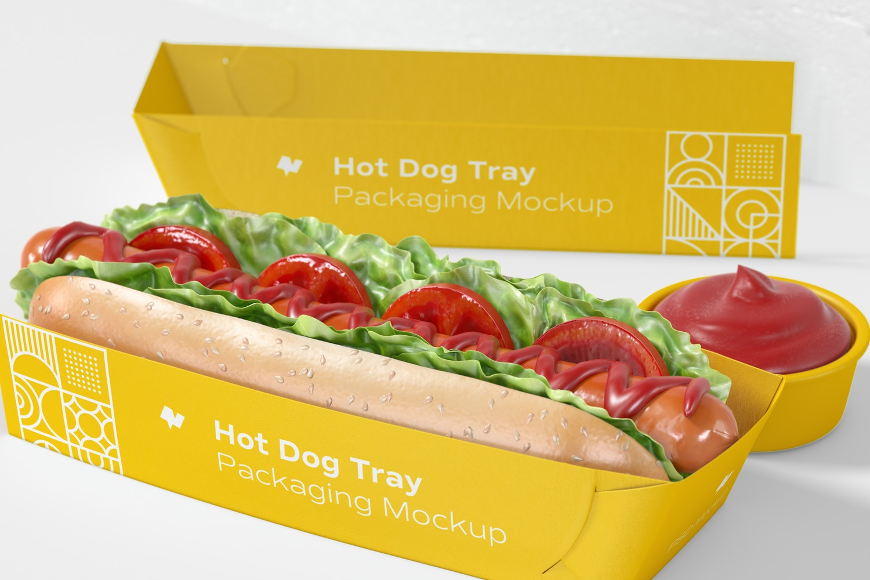 Hot Dog Tray Packaging Mockup, Right View