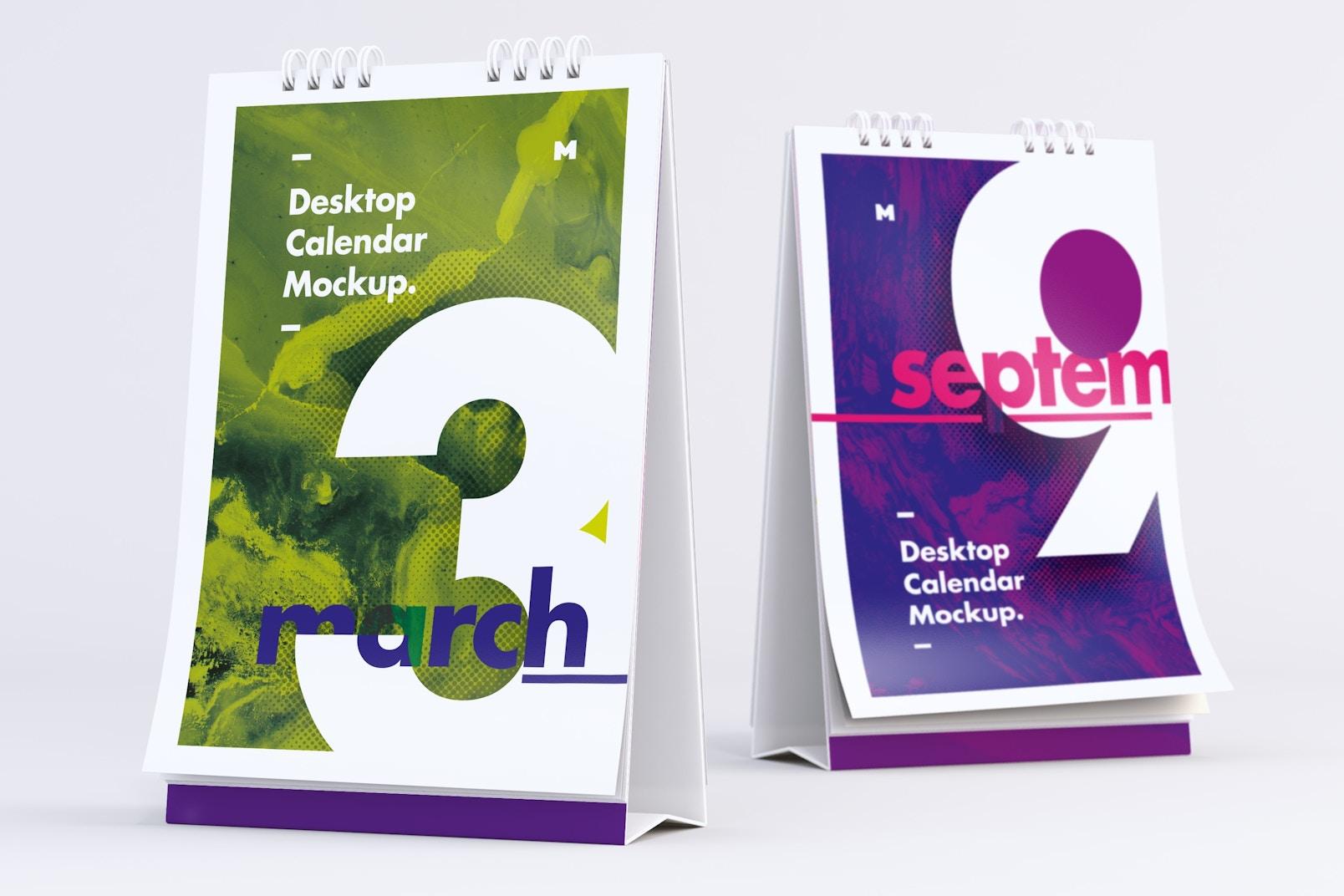 Maqueta de calendario de escritorio vista frontal y posterior