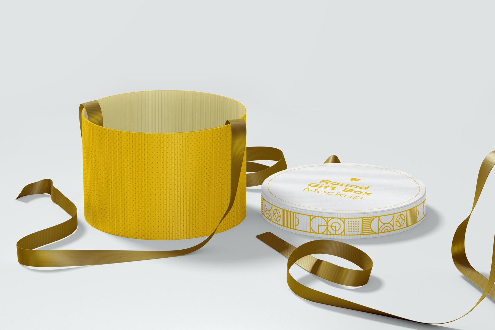Round Gift Box with Ribbon Mockup, Front View