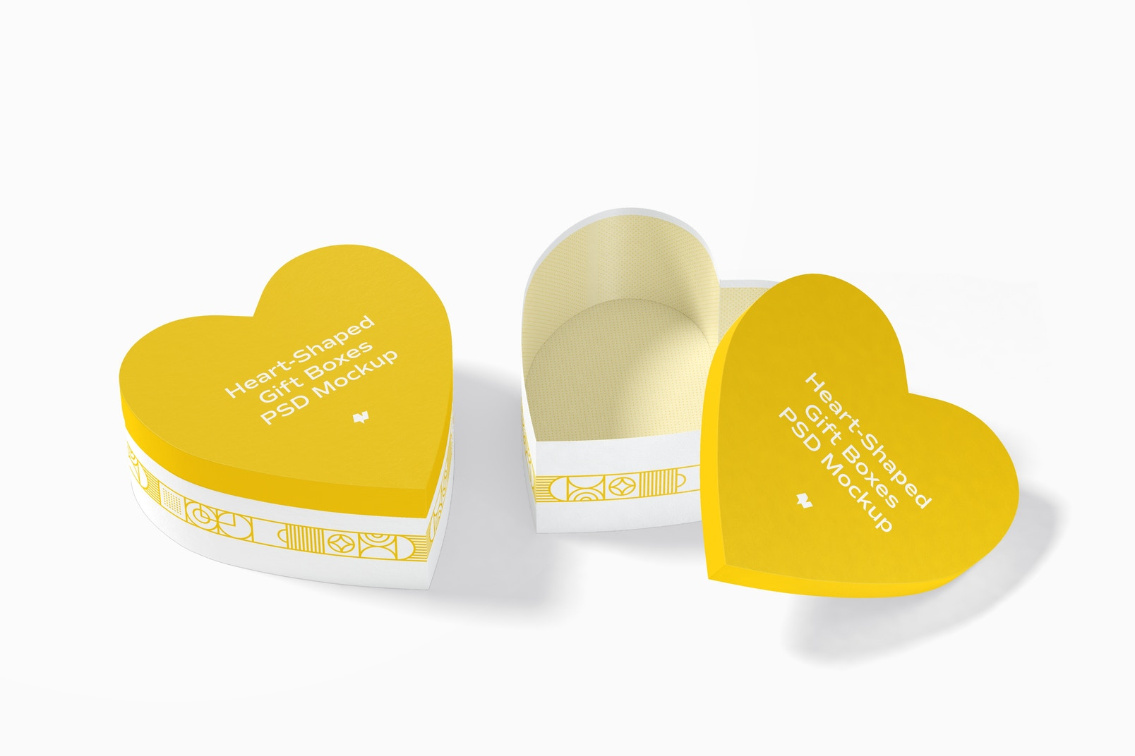 Heart-Shaped Gift Boxes Mockup, Closed and Opened
