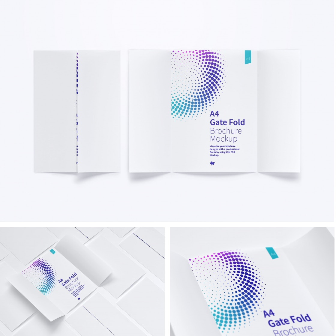 A4 Gate Fold Brochure Mockups by Original Mockups on Original Mockups