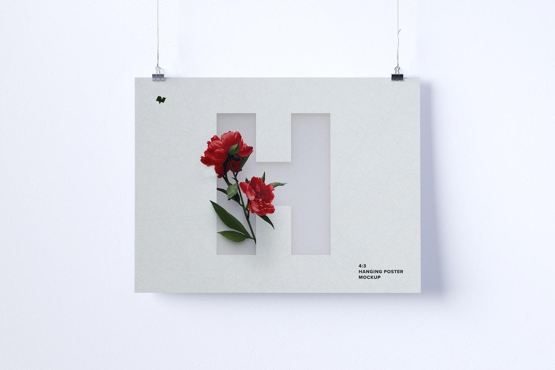 4:3 Landscape Hanging Poster Mockup