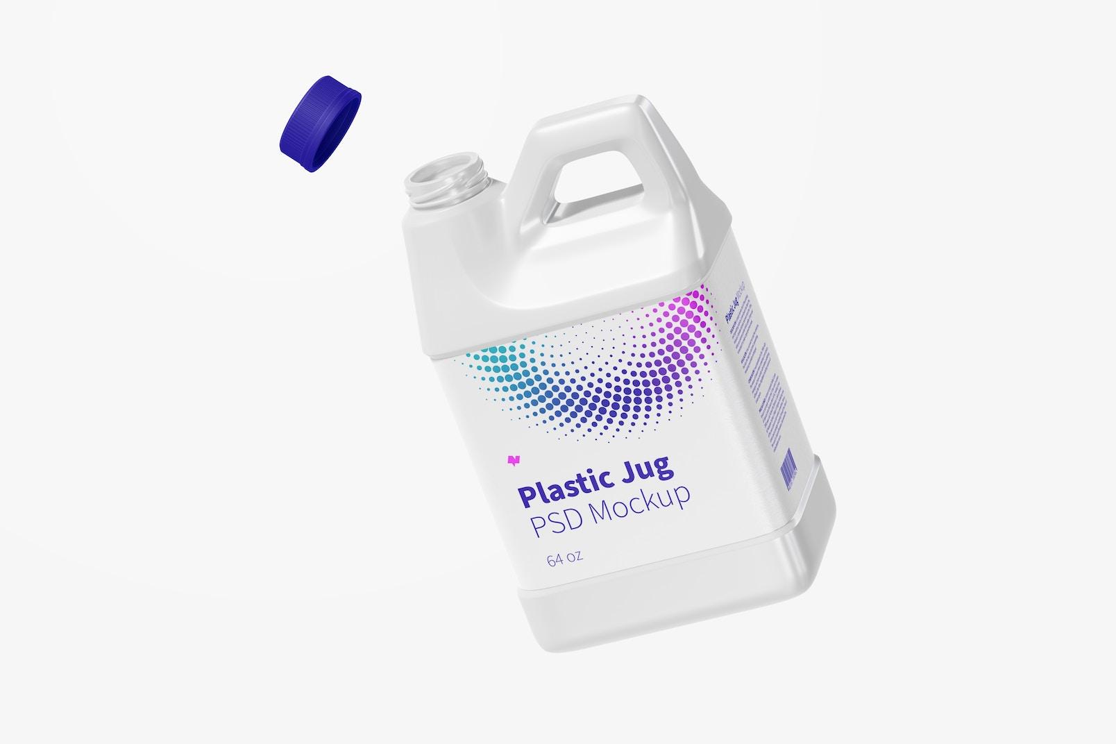 64 oz Plastic Jug Mockup, Floating