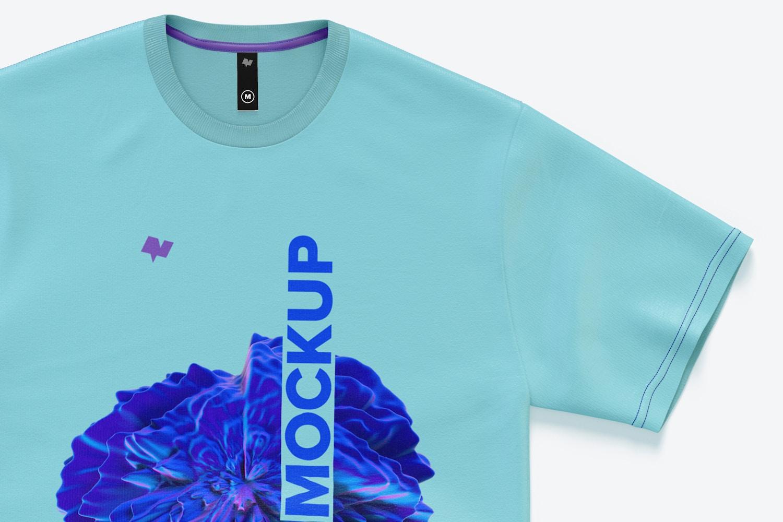 Men's Cotton Short Sleeve Crew T-Shirt Mockup, Top View