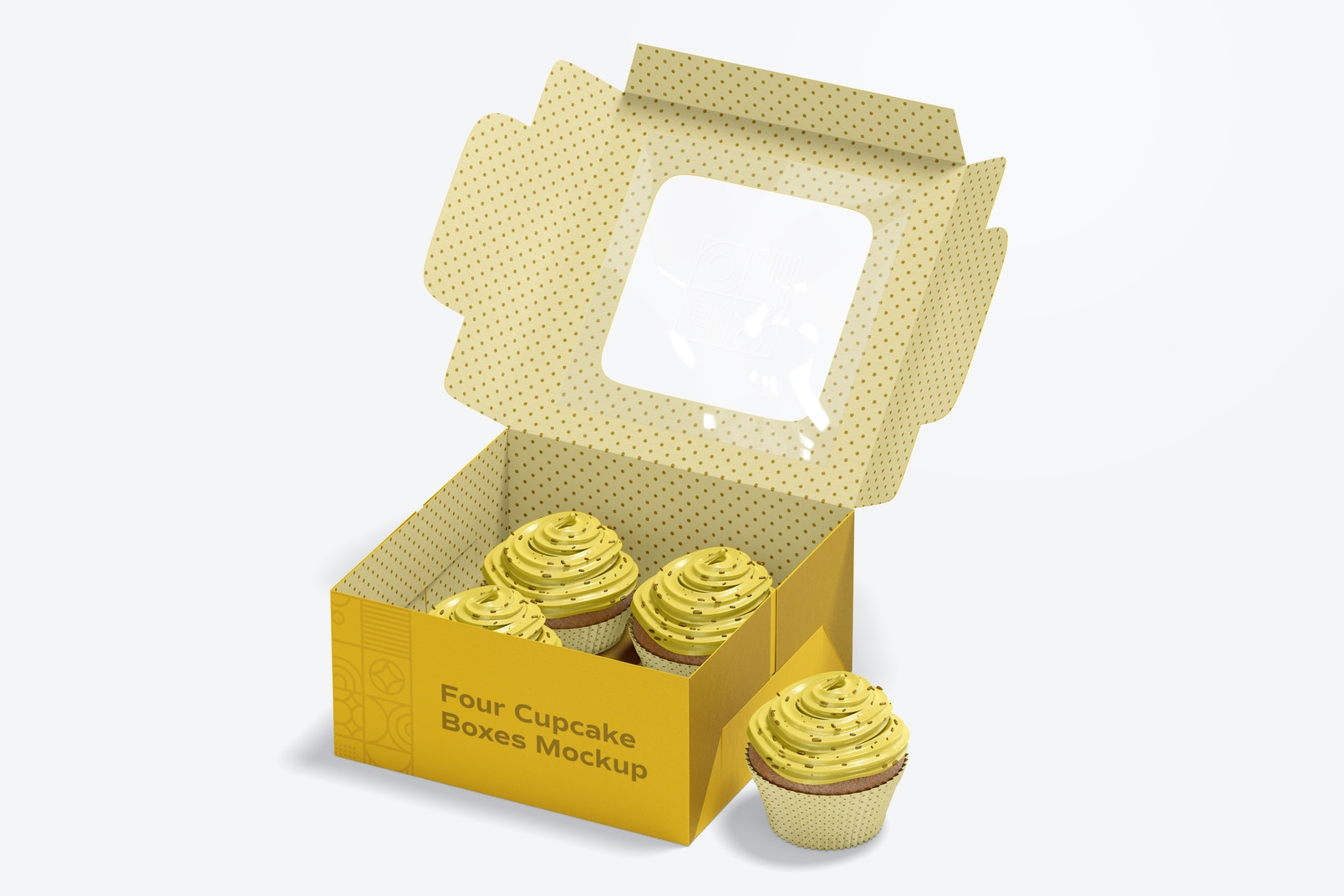 Four Cupcakes Box Mockup, Opened