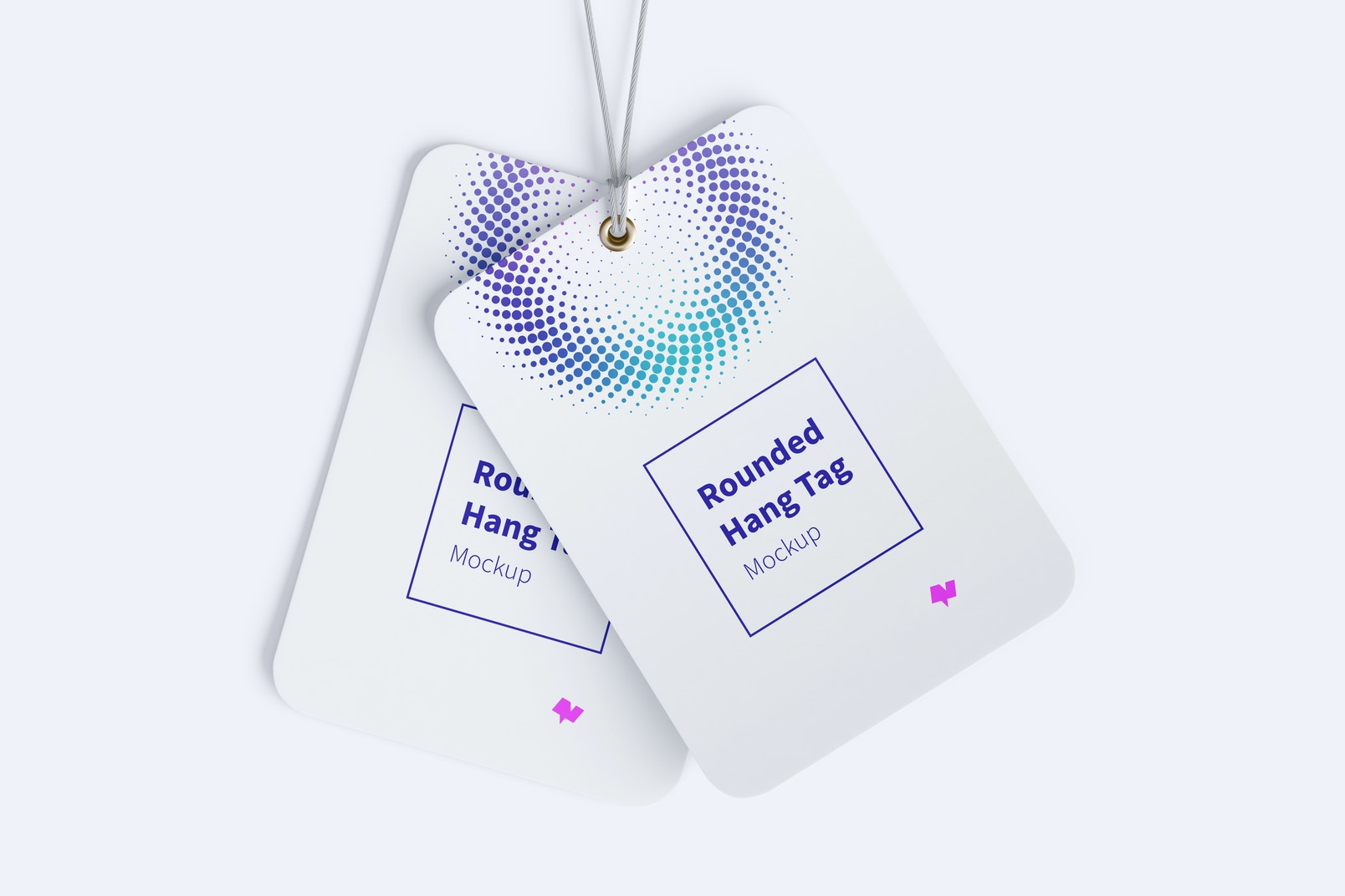 Rounded Hang Tags Mockup with String