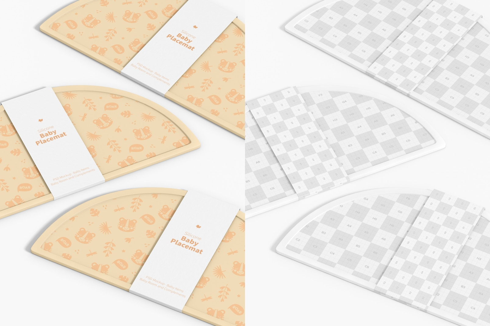 Silicone Baby Placemats Mockup, Floating