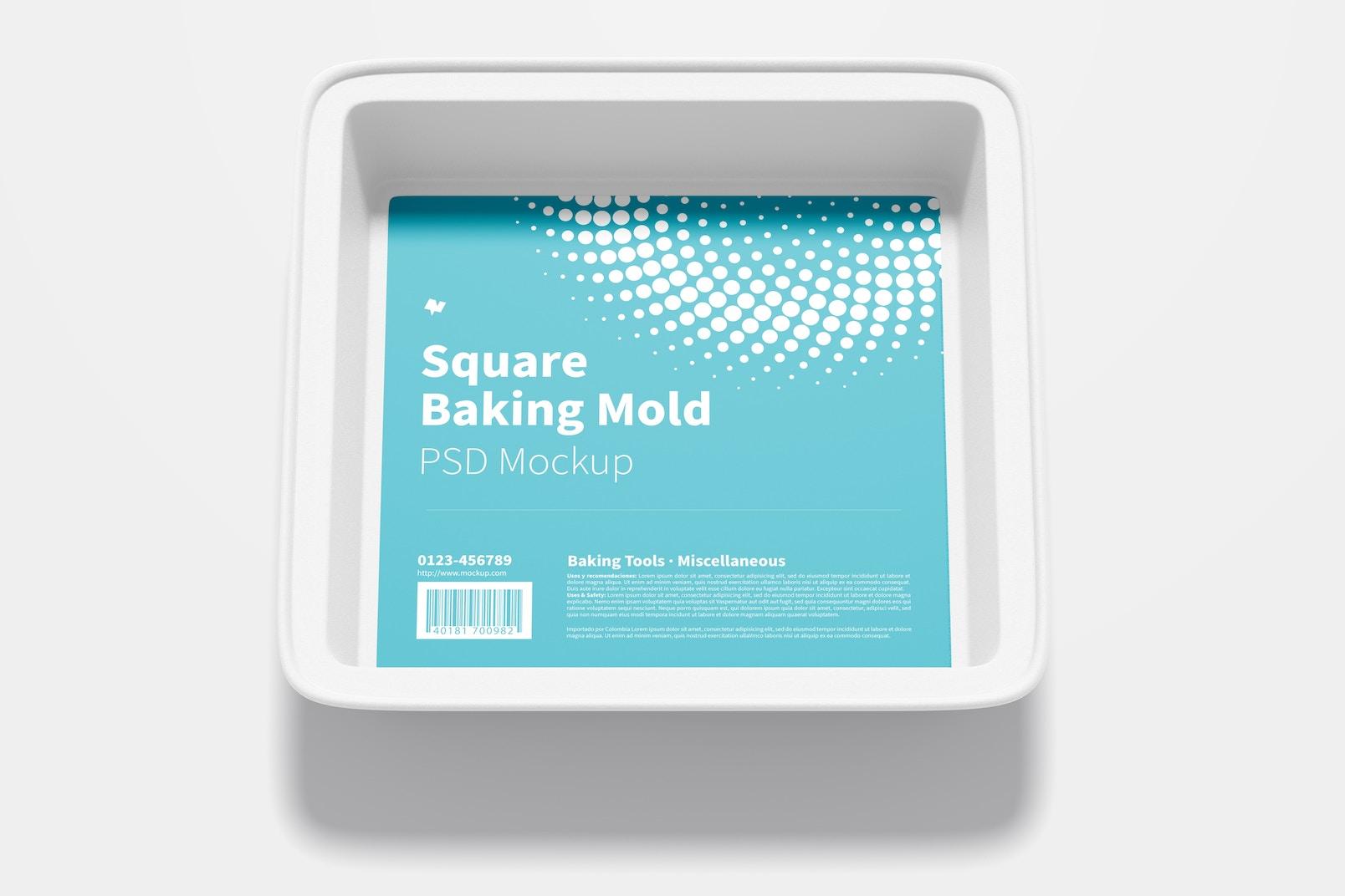 Square Baking Mold Mockup, Top View
