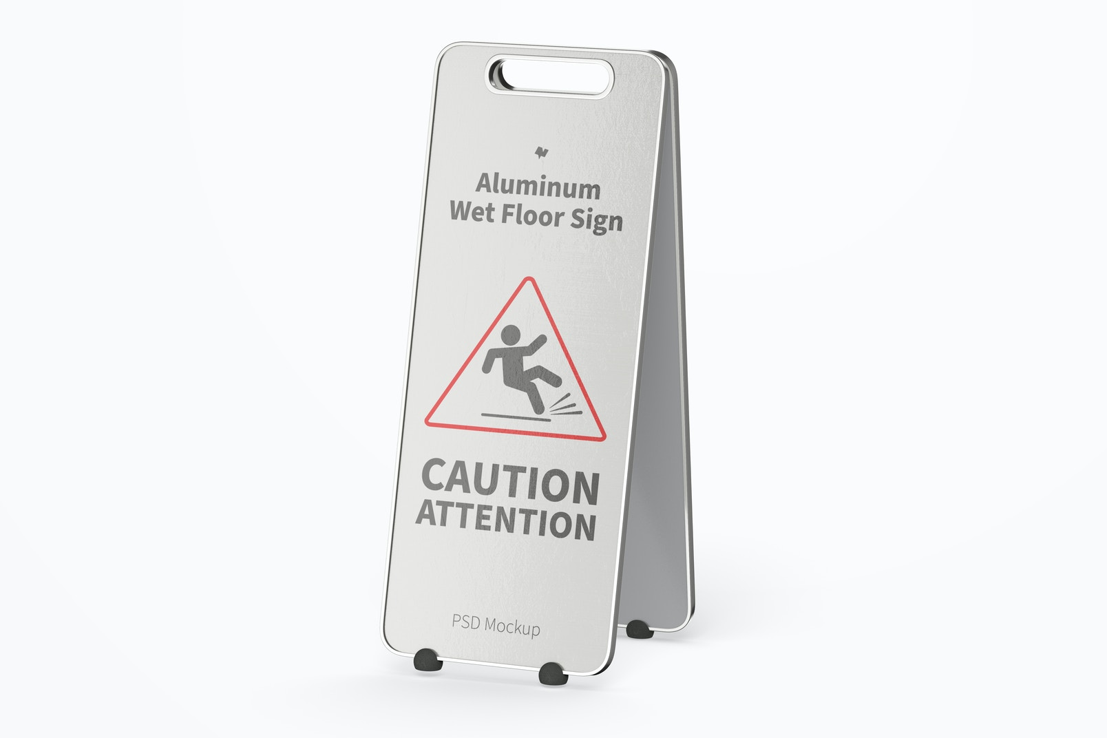 Aluminum Wet Floor Sign Mockup, Right View