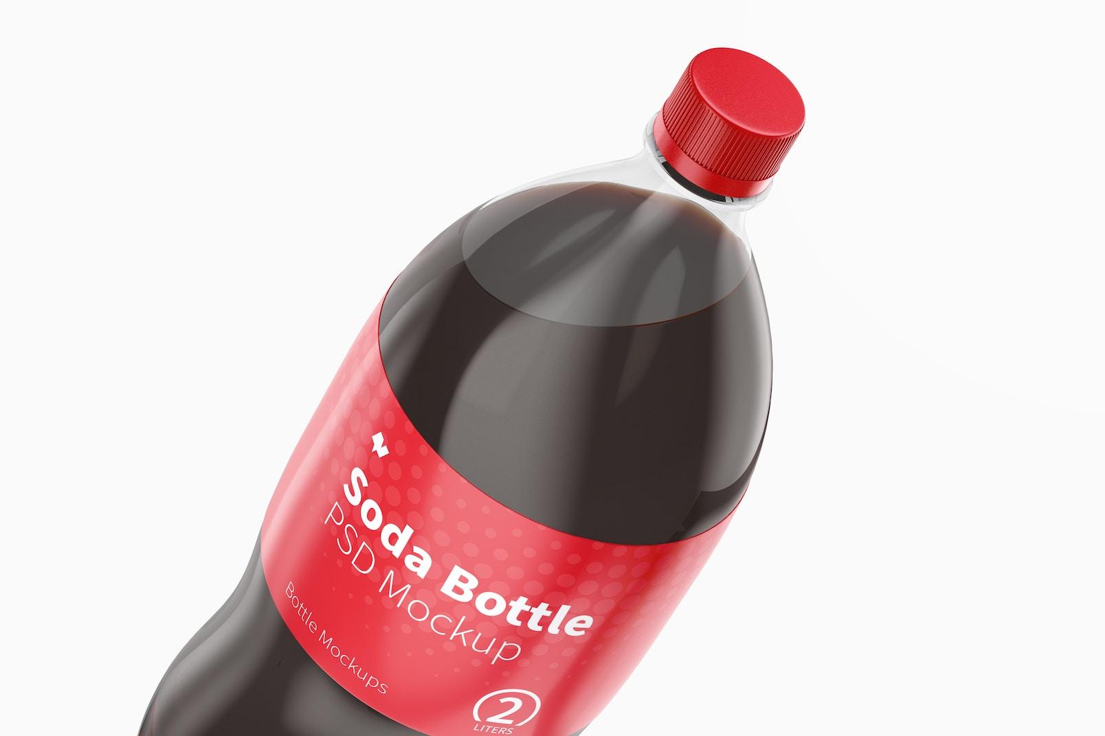 2L Coke Bottles Mockup, Close Up