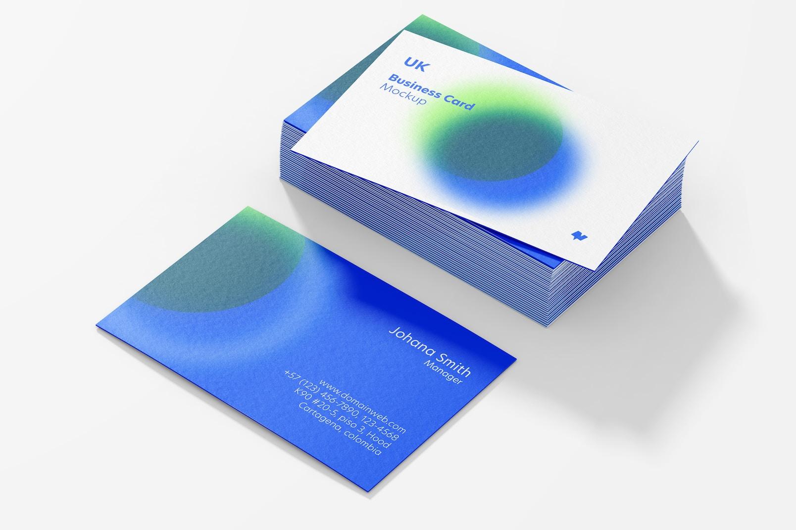 UK Landscape Business Cards Mockup, Stacked Set