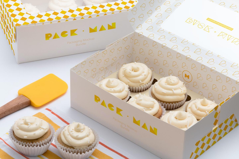 Six Cupcake Box Mockup 01