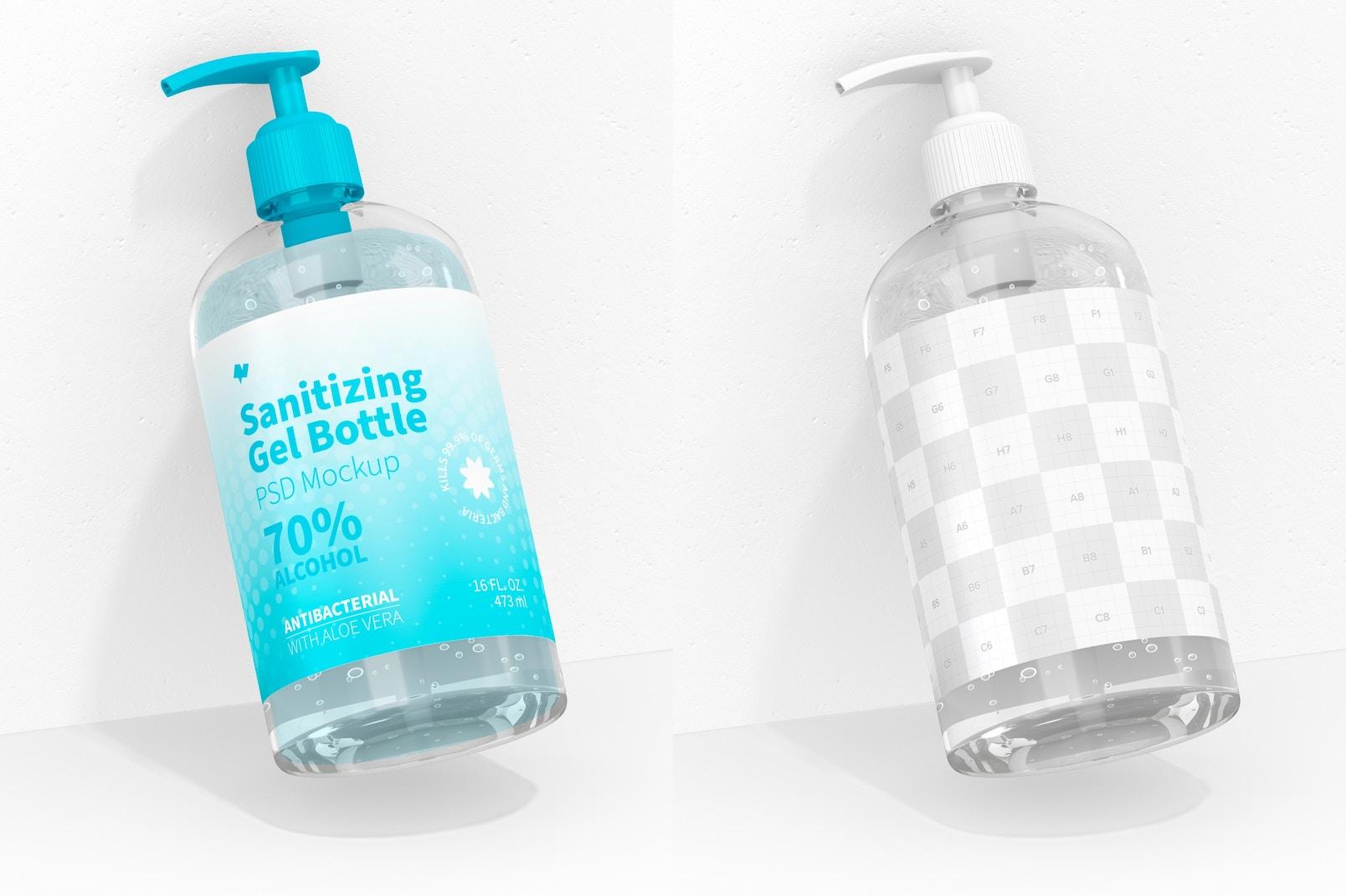 16 oz Sanitizing Gel Bottle Mockup, Leaned