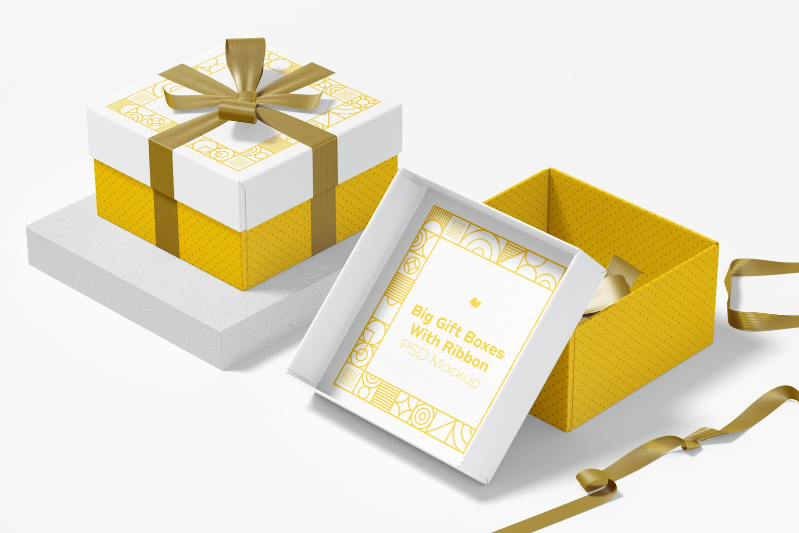 Big Gift Boxes With Ribbon Mockup, Side View