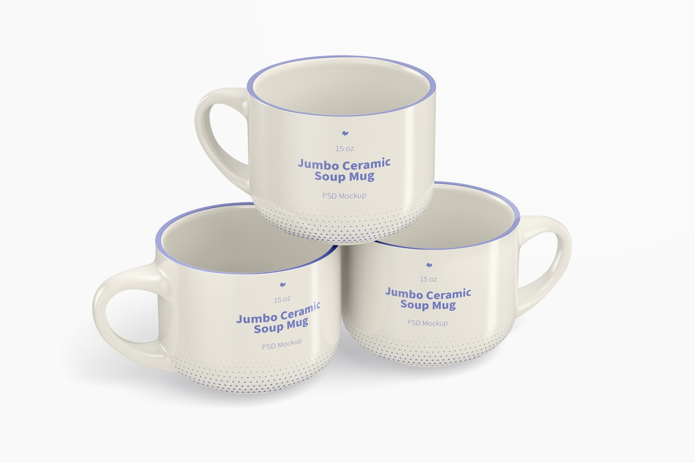 15 oz Jumbo Ceramic Soup Mugs Mockup