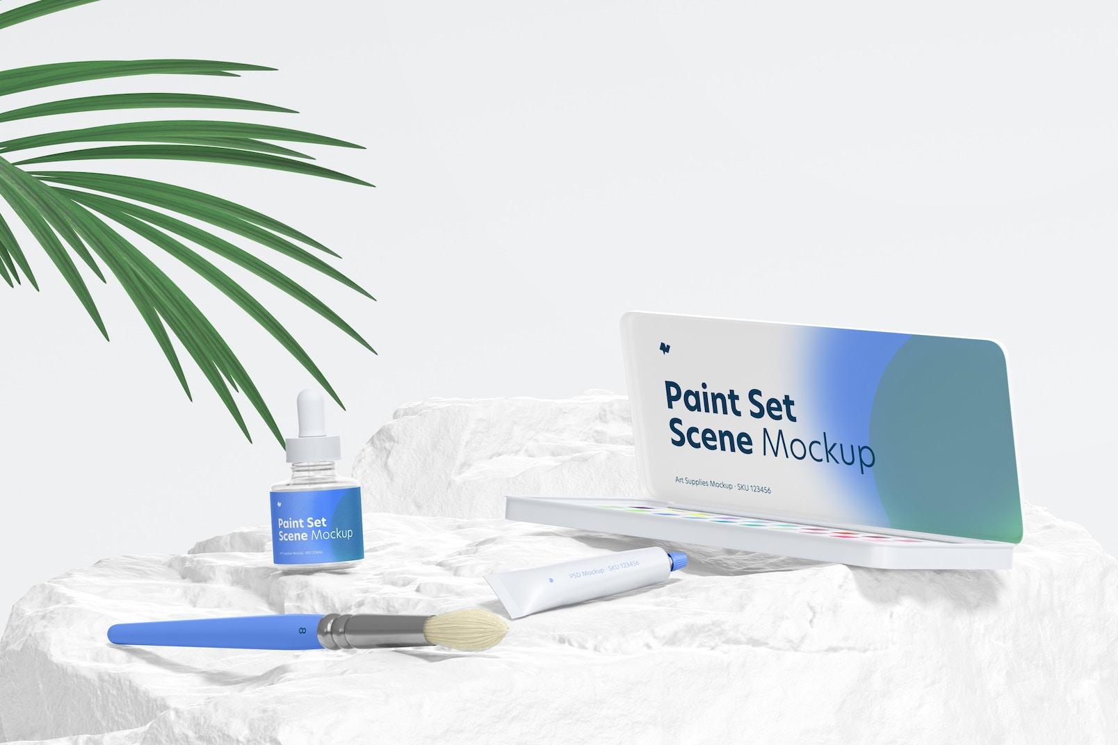 Paint Set Scene Mockup 02