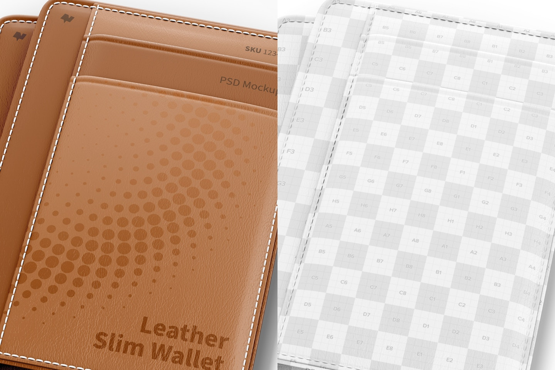 Leather Slim Wallet Mockup, Close Up