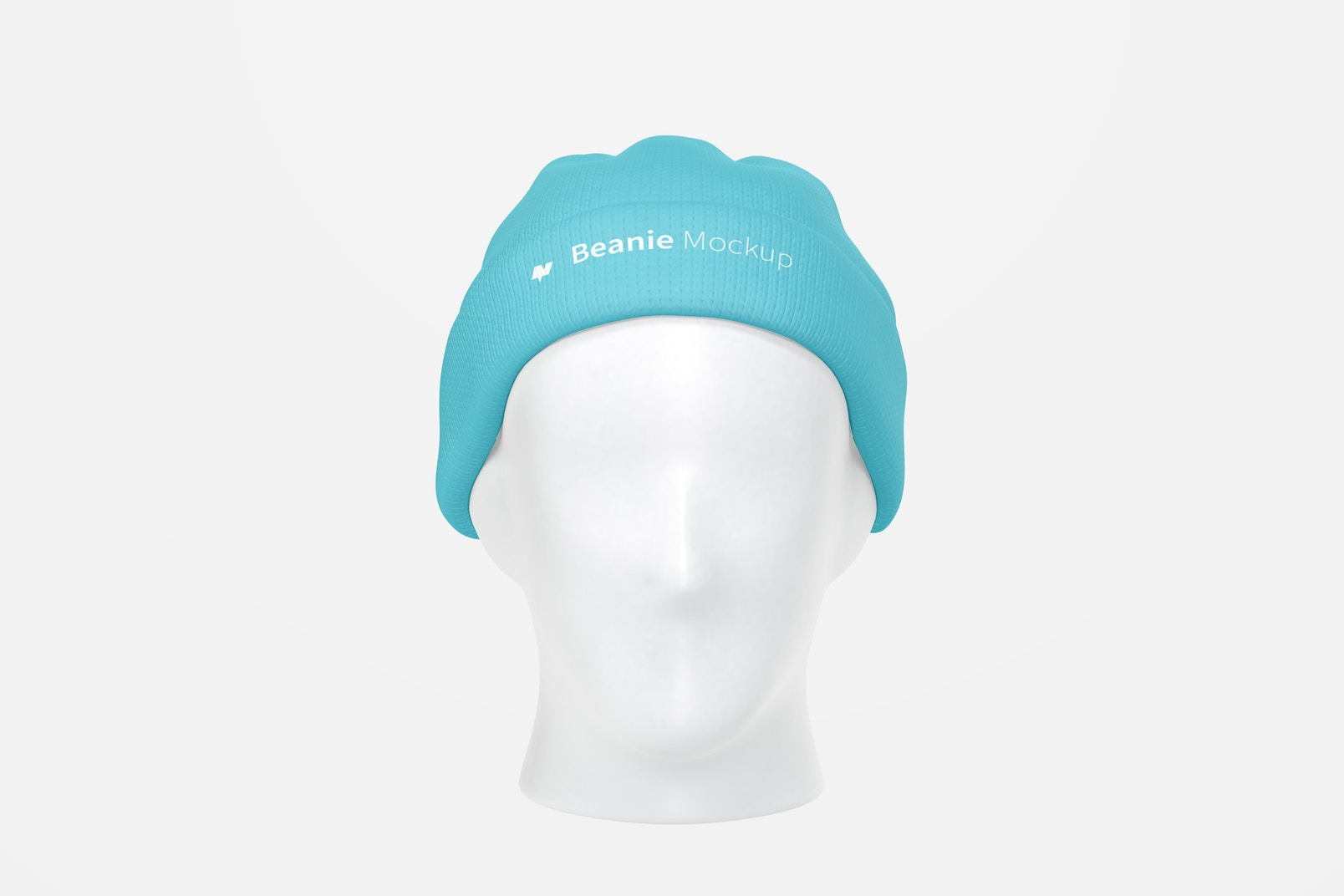 Beanie with Head Mockup, Front View