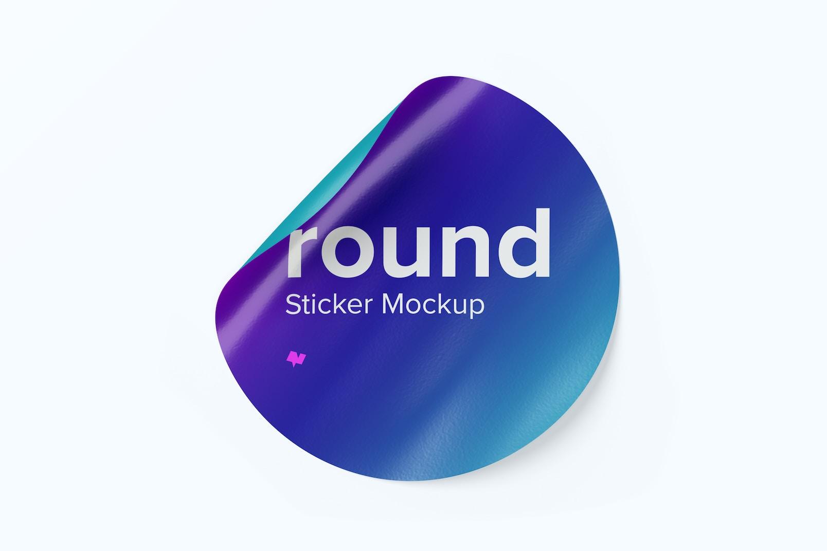 Round Sticker Mockup, Front View 02